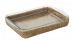 Ensemble plat lasagnes pyrex rectangle 40x27 cm couleur miel