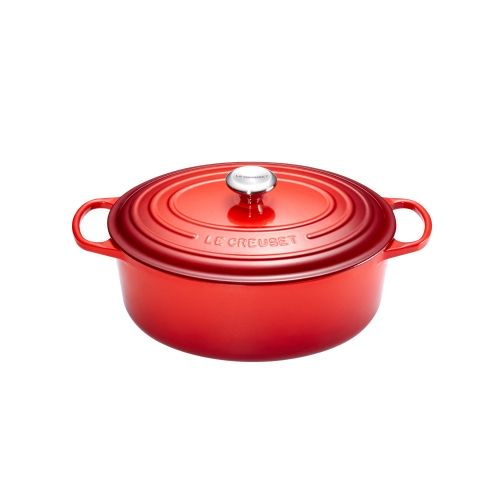 le creuset cocotte signature en fonte maill e ovale 27 cm rouge cerise 21178270602430. Black Bedroom Furniture Sets. Home Design Ideas