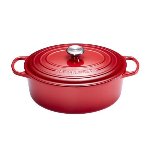 le creuset cocotte signature en fonte maill e ovale 33 cm rouge burgundy 21178337502430. Black Bedroom Furniture Sets. Home Design Ideas
