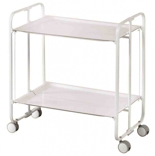 don hierro table roulante pliante blanche 2 plateaux. Black Bedroom Furniture Sets. Home Design Ideas