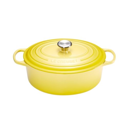 le creuset cocotte signature en fonte maill e ovale 31 cm jaune soleil 21178314032430. Black Bedroom Furniture Sets. Home Design Ideas