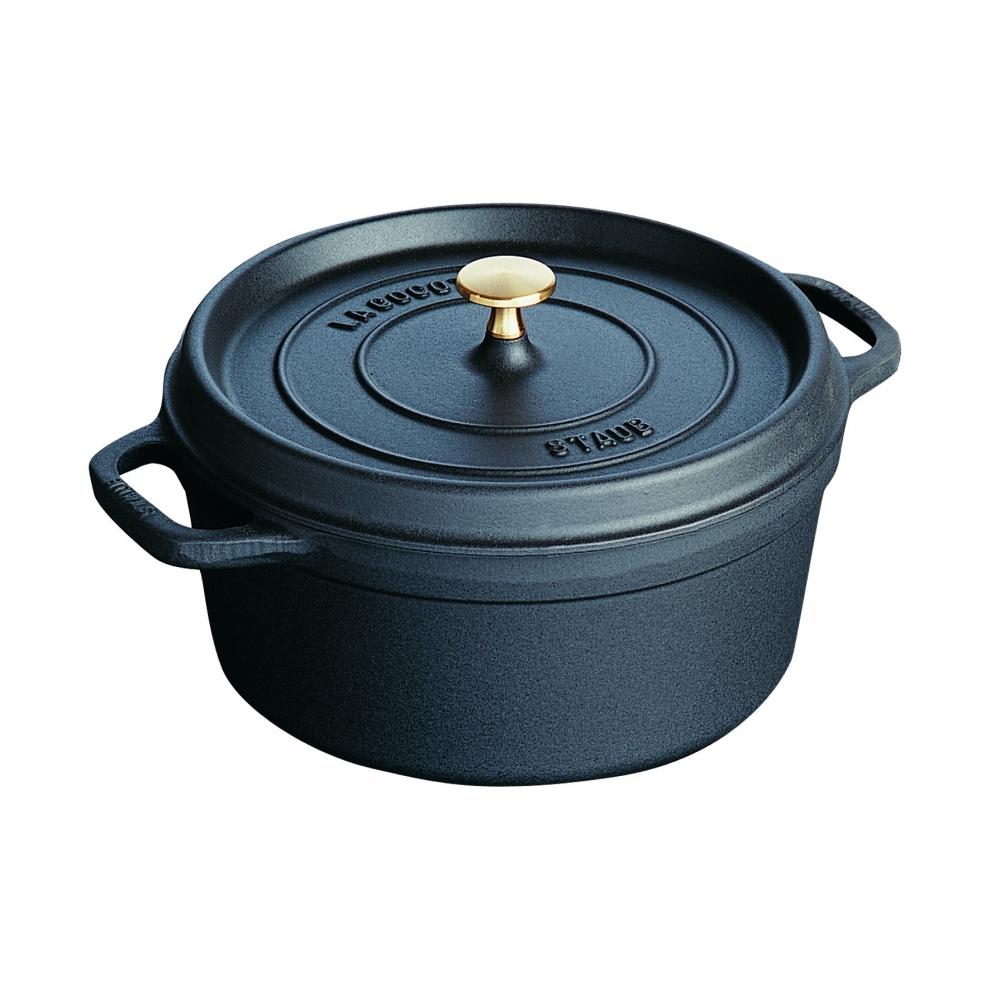 Staub cocotte en fonte staub ronde noire 26 cm avec - Cocotte ronde en fonte ...