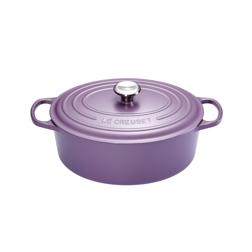 le creuset cocotte signature en fonte maill e ovale 29 cm violet ametist 21178274614430. Black Bedroom Furniture Sets. Home Design Ideas