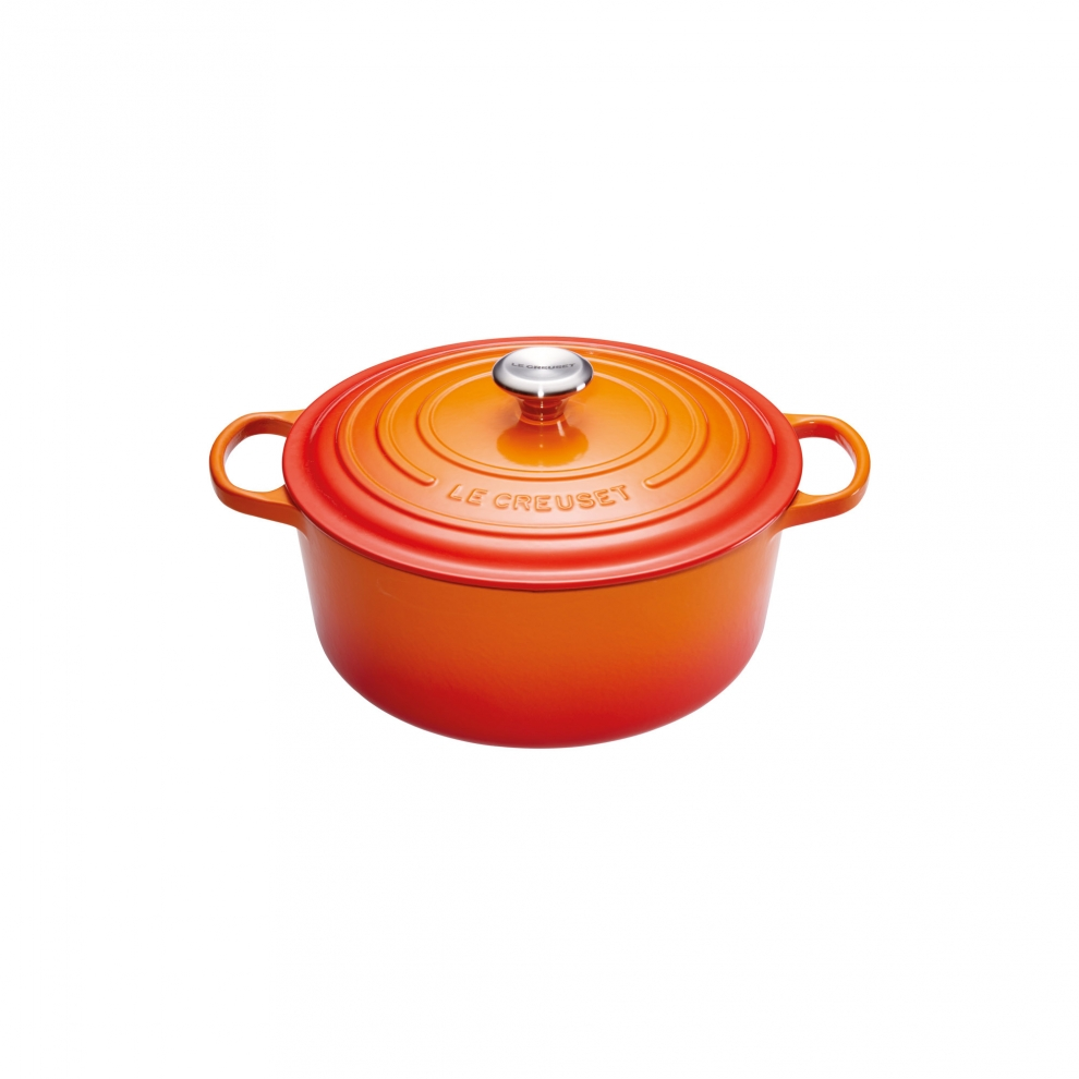 le creuset cocotte signature en fonte maill e ronde 18 cm orange volcanique 21177180902430. Black Bedroom Furniture Sets. Home Design Ideas
