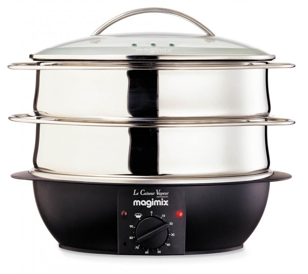 magimix cuiseur vapeur lectrique 2 paniers inox brillant avec couvercle en verre et av 11234. Black Bedroom Furniture Sets. Home Design Ideas