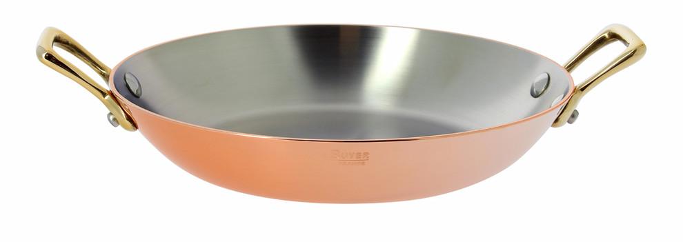 De buyer plat rond cuivre inox 2 anses laiton 16cm for Plat cuisson inox
