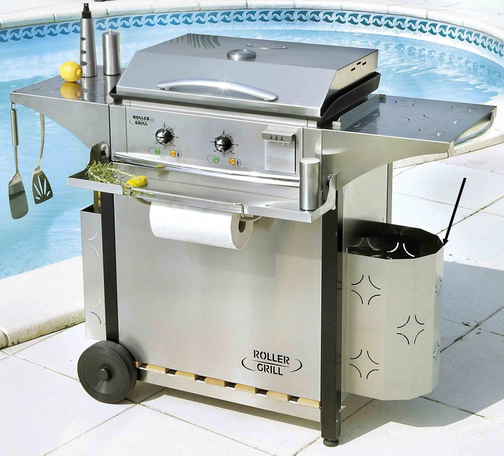 poubelle inox pour les dessertes de plancha roller grill. Black Bedroom Furniture Sets. Home Design Ideas