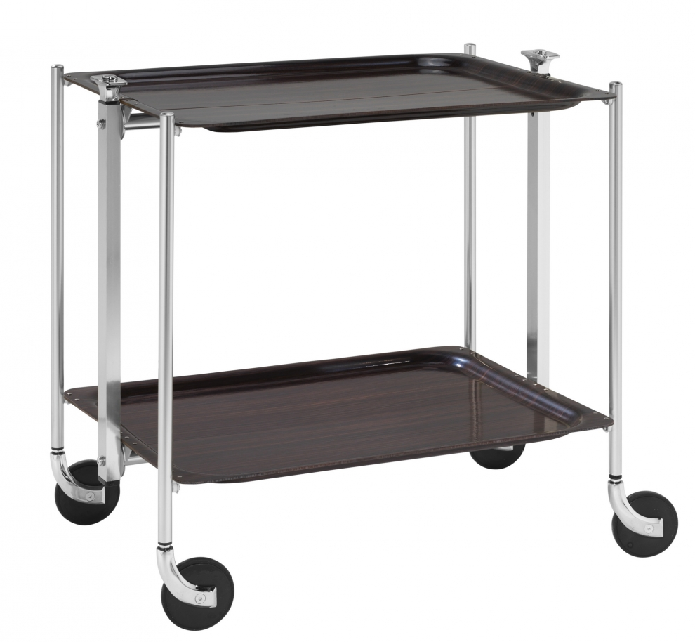 Genuine french platex textable folding tea serving trolley - Table pliante roulante ...