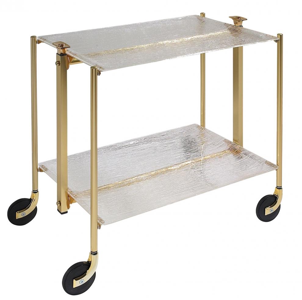 Platex Table Roulante Pliante Textable Dore 2 Plateaux Transparent