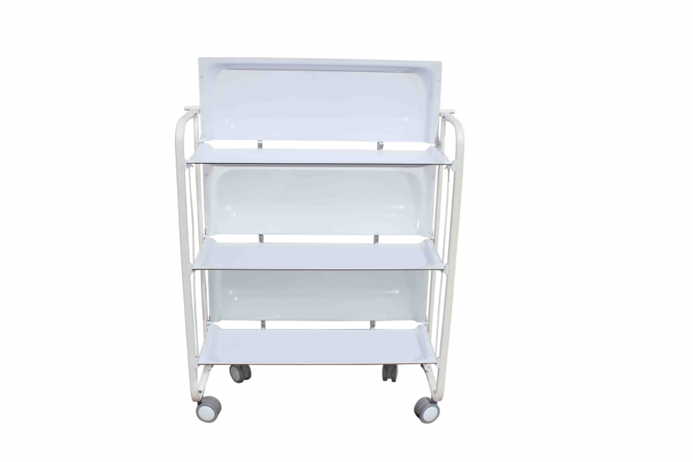 don hierro table roulante pliante blanche 3 plateaux. Black Bedroom Furniture Sets. Home Design Ideas