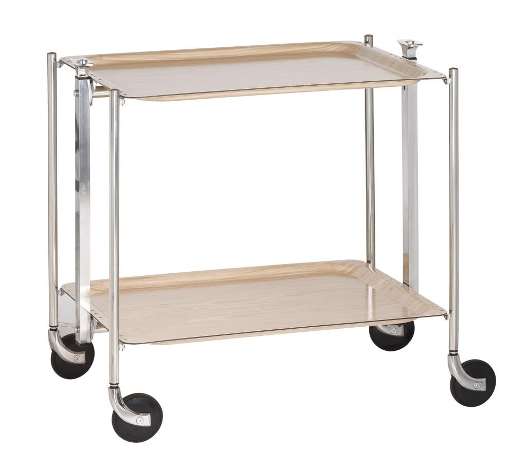 Platex Table Roulante Pliante Textable Dore 2 Plateaux Bois
